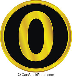 Gold number zero button on white background