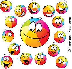 happy beach ball with many expressions