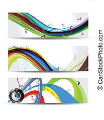 Colorful Musical Wave Banner Vector