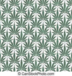 Green and White Marijuana Leaf Pattern Repeat Background...