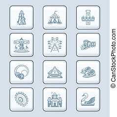 Attraction icons | TECH series - Amusement park or funfair...