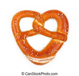 delicioso, Bávaro, Pretzel, corazón, forma