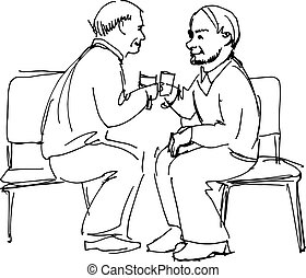 two grandfathers drink - black and white sketch vector two...