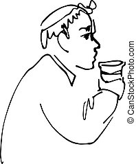 bald man drinking from a cup - black and white sketch vector...