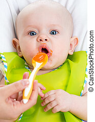 baby feeding with a spoon