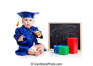 Baby in academician clothes with bell and chalkboard