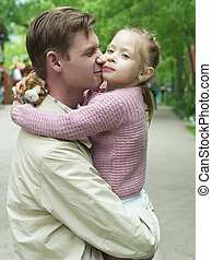 Happiness fatherhood - Father playing with daughter