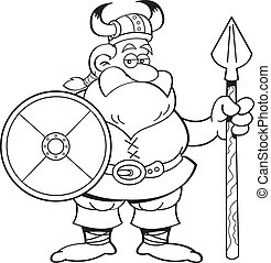 Cartoon viking holding a sign - Black and white illustration...
