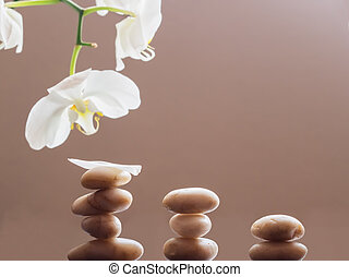 Spa Stones and Orchid flowers