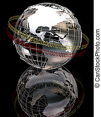 3d chrome globe - 3d render of chrome globe with binary code...