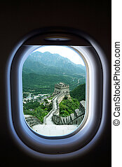 travel China, view of window plane - travel China, view of...