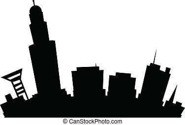 Cartoon Lincoln - Cartoon skyline silhouette of the city of...