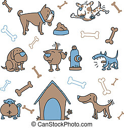 Dog Set - Cartoon set of dog elements.