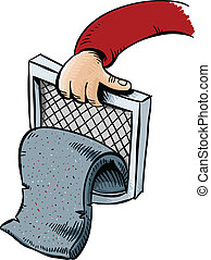 Lint Trap - A pad of cartoon lint pulled from the trap of a...