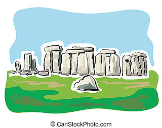 Stonehenge - illustration of the remains of the prehistoric...