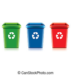 Plastic recycle bin set vector illustration - Plastic...