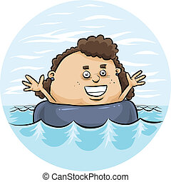 Inner Tube Float - A cartoon girl floating in an inflatable...