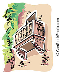 Verona Juliet Balcony - illustration of the balcony of...