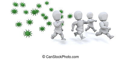 men running away from bacteria - 3d render of men running...