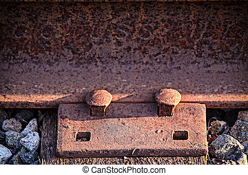 Train Track - Two rusty old nails fastening a train track