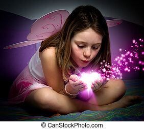 little princess - Portrait of a little girl with butterfly...