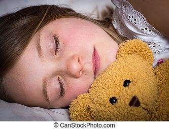 Little girl sleeping - Portrait of a little girl sleeping in...