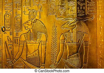 lättnad, egypten, gudar