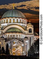 St. Sava Temple Illuminated At Nigh