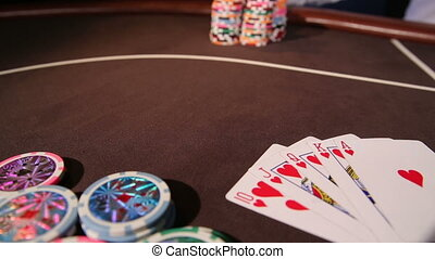 Casino. Placing bet - Casino. Stack of chips. Placing bet