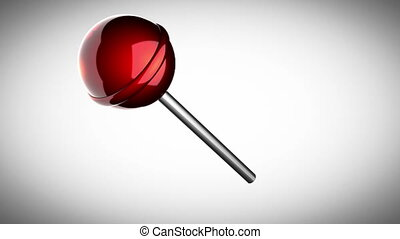 loop rotate red lollipop on gray background