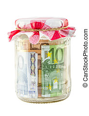 financial reserves money conserved in a glass jar - money in...