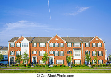 Apartments - Typical modern apartment building in American...