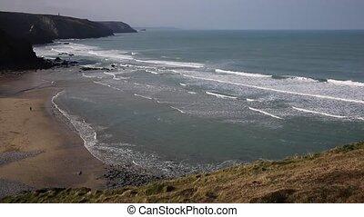 Porthtowan coastline and beach UK - Porthtowan beach near St...