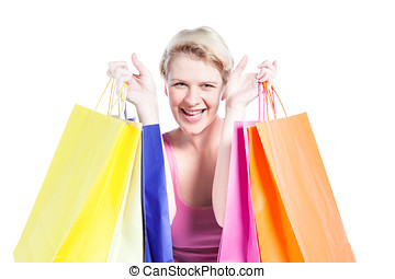 Young woman happy with shopping bags