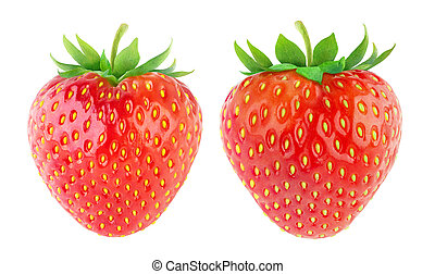 Strawberries - Two strawberries isolated on white
