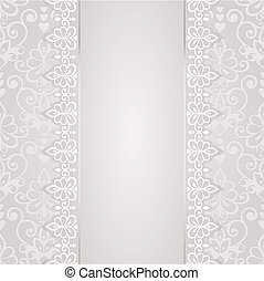 Wedding card or invitation with abstract floral ornament.