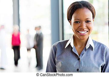 young african american business woman in office - smart...