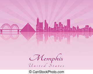 Memphis skyline in purple radiant orchid in editable vector...