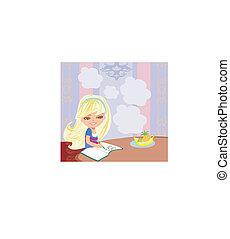 illustration of girl doing homework