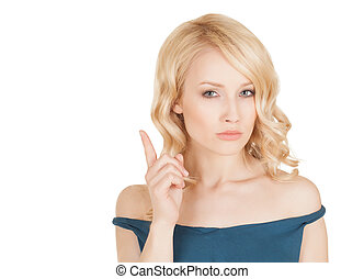 picture of attractive young woman blond with her finger up,...