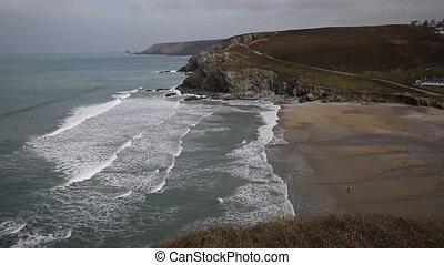 Porthtowan beach Cornwall England - Porthtowan beach near St...