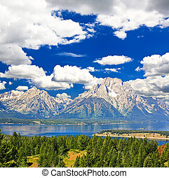 les, paysage, Grandiose, teton, national, Parc