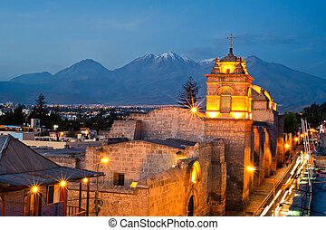 catalina convent arequipa street view during the golden hour...