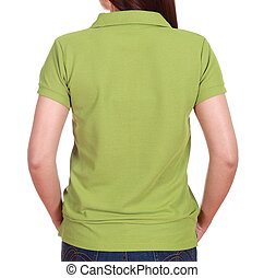 close-up female with blank green polo shirt back side...