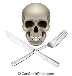 Unhealthy diet - Skull with crossed fork and knife as symbol...