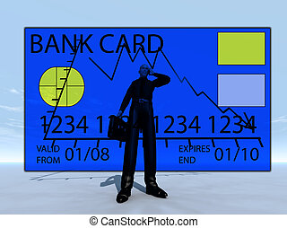 Credit Crises With Credit Card - Businessman with a credit...