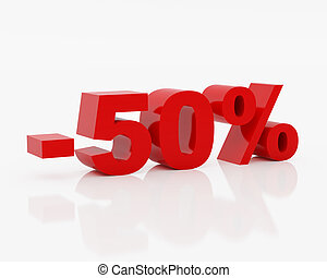 Fifty percent - High resolution image fifty percent. 3d...