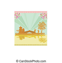 abstract Asian Landscape and two geishas