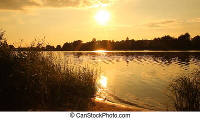Sunset on the lake. summer landscape