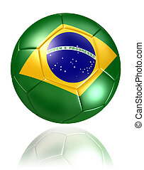 brazil flag on soccer ball on white background clipping path...